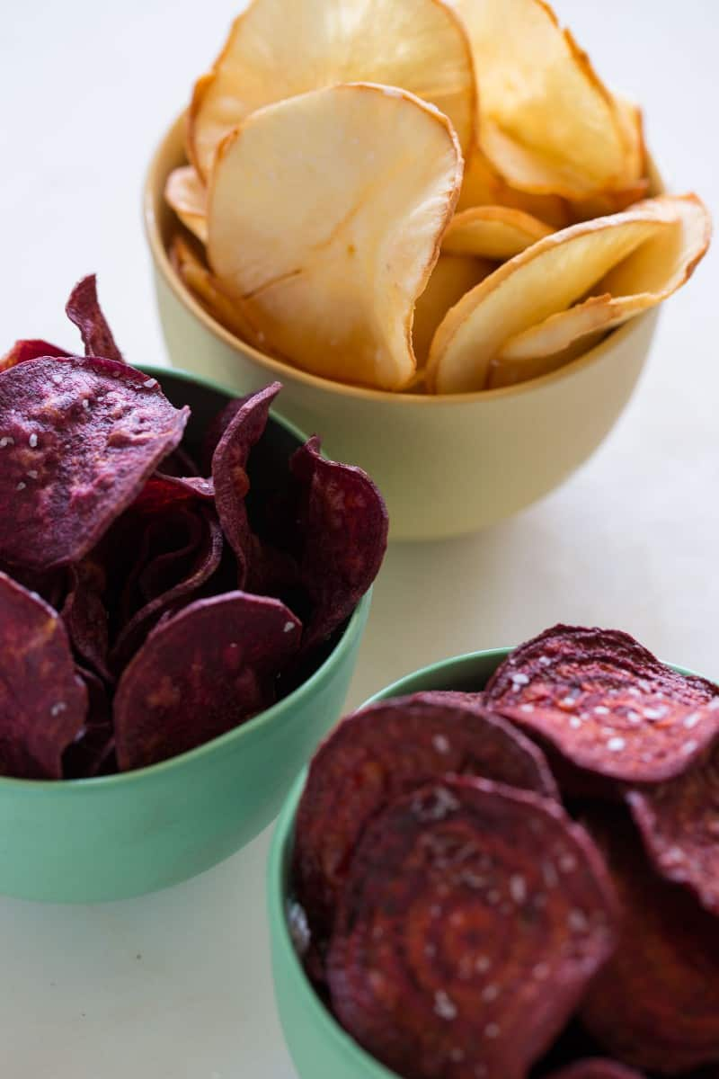 A Root Chip recipe made with yucca, sweet potatoes, and beets.