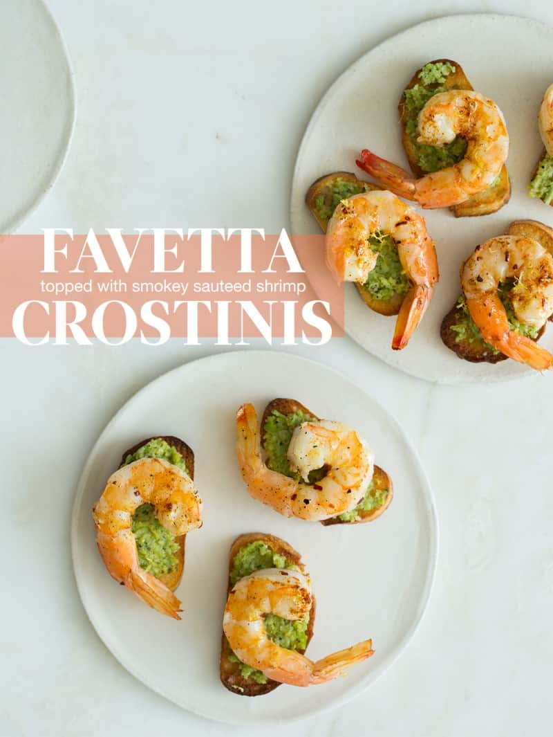 Favetta Crostinis topped with Smoky Sauteed Shrimp