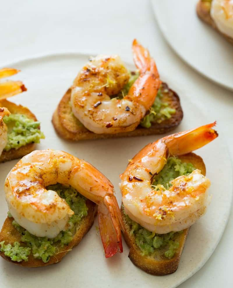 Favetta Crostinis topped with Smoky Sauteed Shrimp appetizer recipe