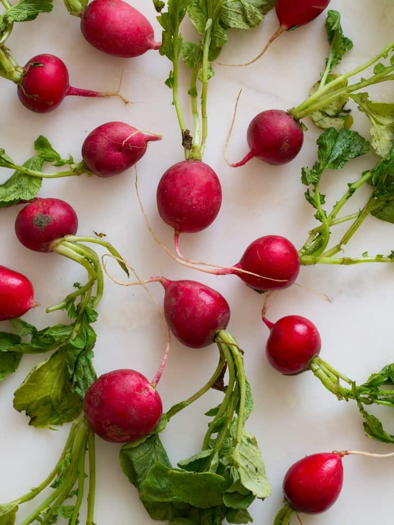 Fresh radishes for Roasted Radishes