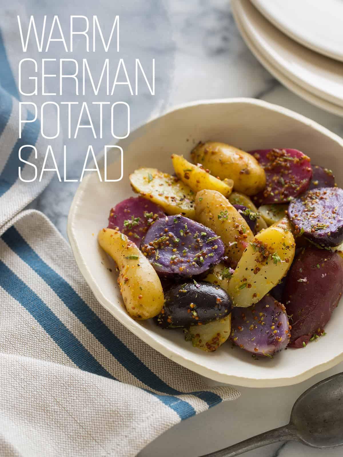 Warm German Potato Salad Recipe Spoon Fork Bacon