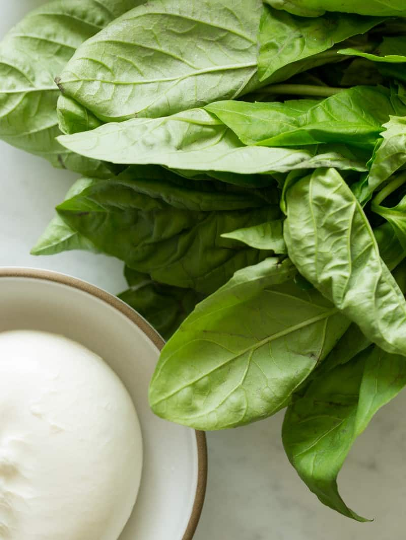 Basil and Burrata for Grilled Peach and Burrata Crostini