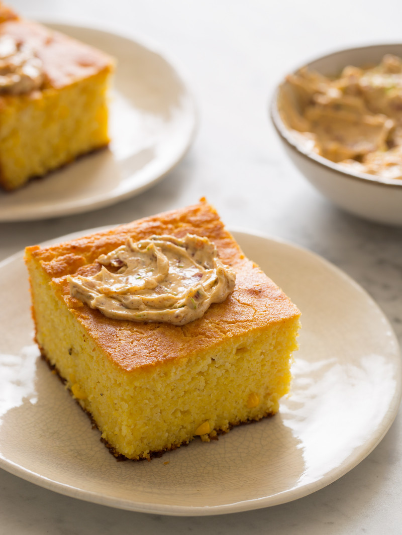 Buttermilk Cornbread with Bacon Lime Chili Butter