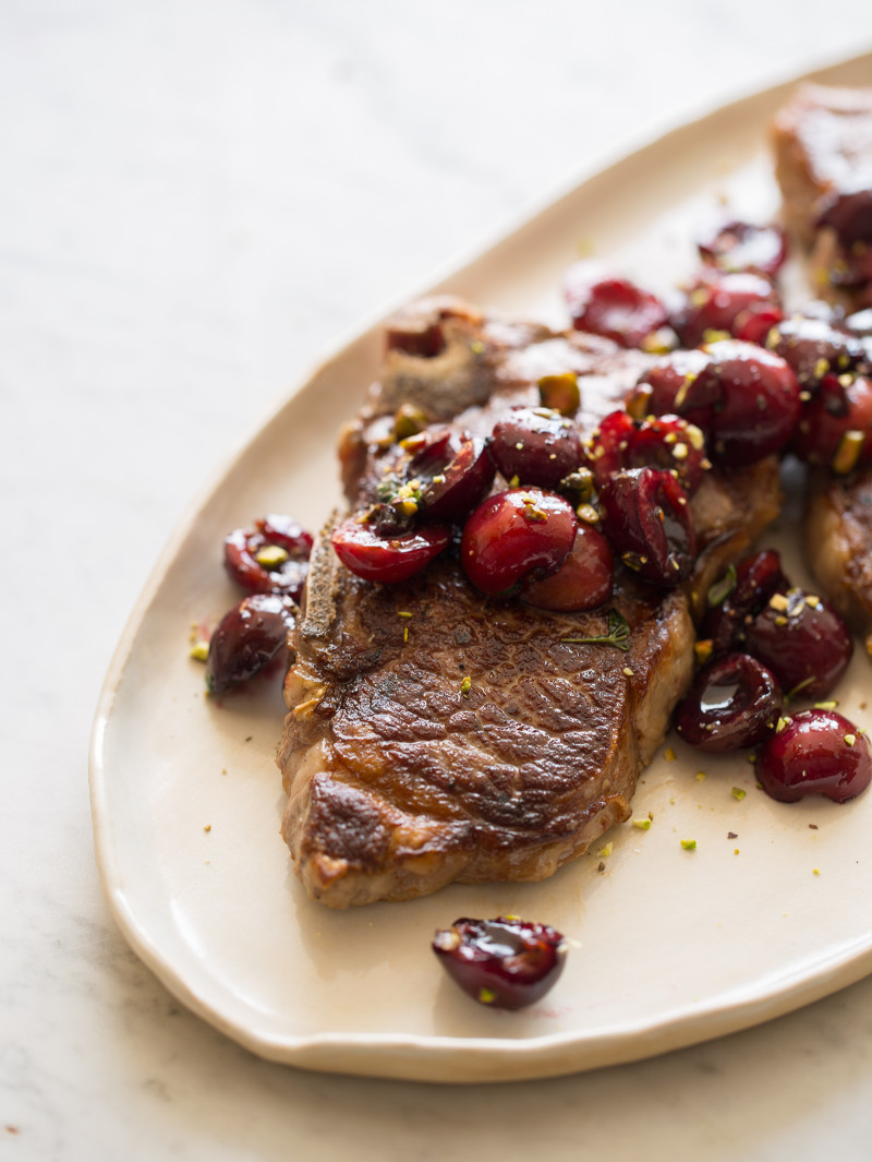 Grilled New York Steak with a Cherry Port Compote