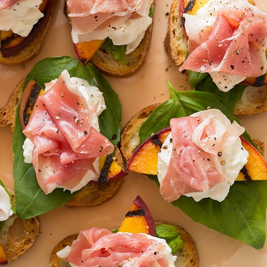 Grilled Peach and Burrata Crostini recipe | Spoon Fork Bacon