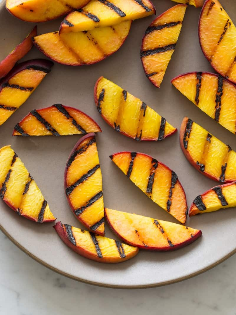 Grilled Peaches for Grilled Peach and Burrata Crostini