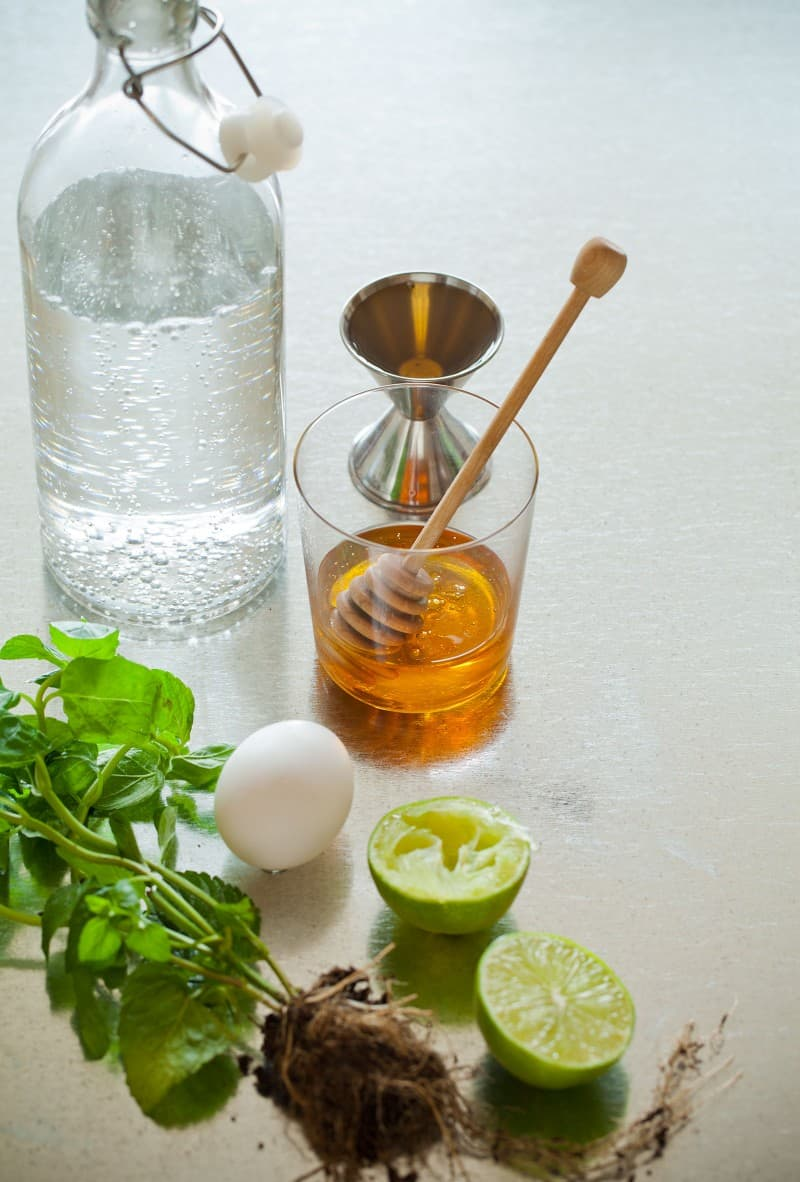 Ingredients for a Honey Rum Fizz cocktail