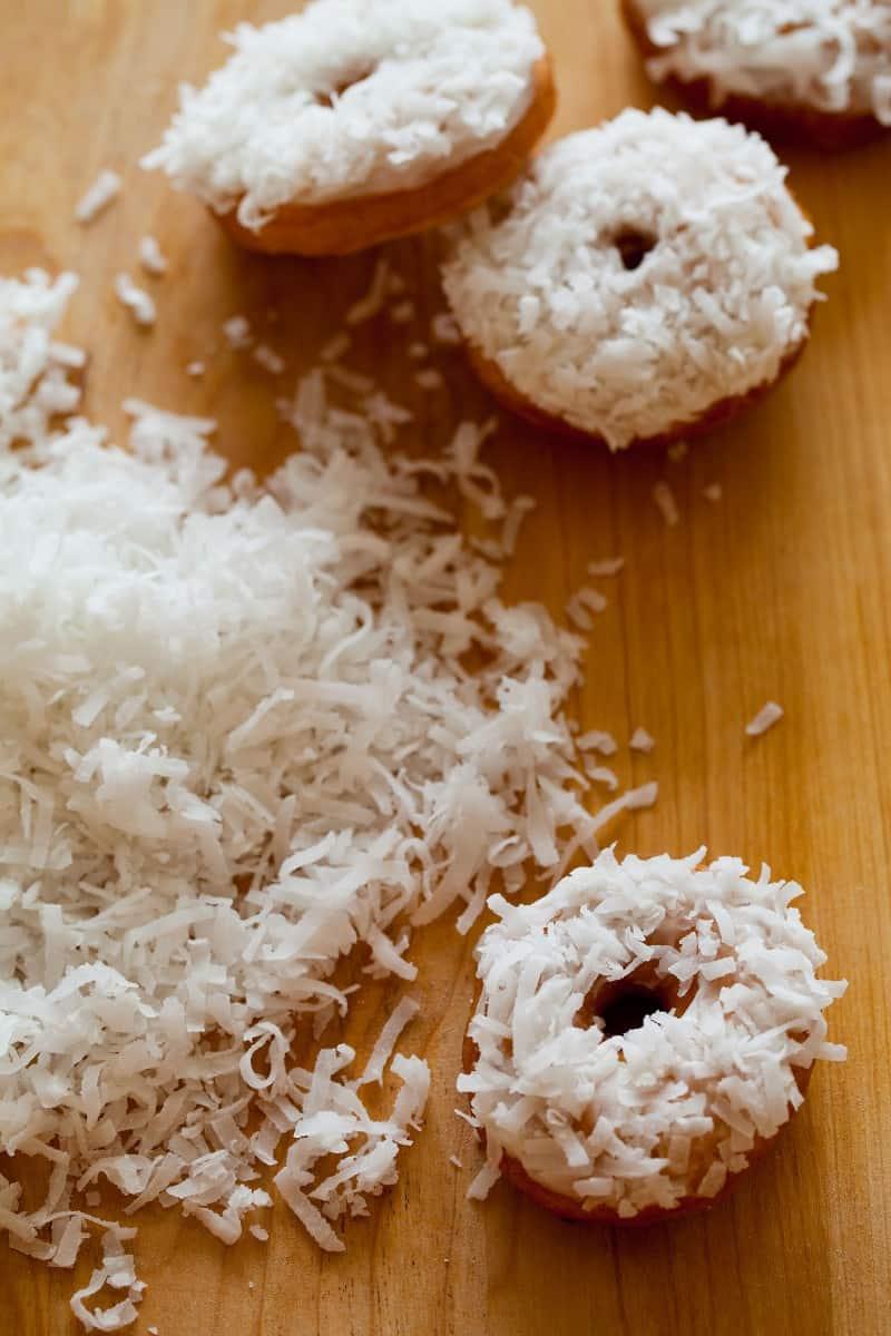 Coconut No Yeast Cake Doughnuts