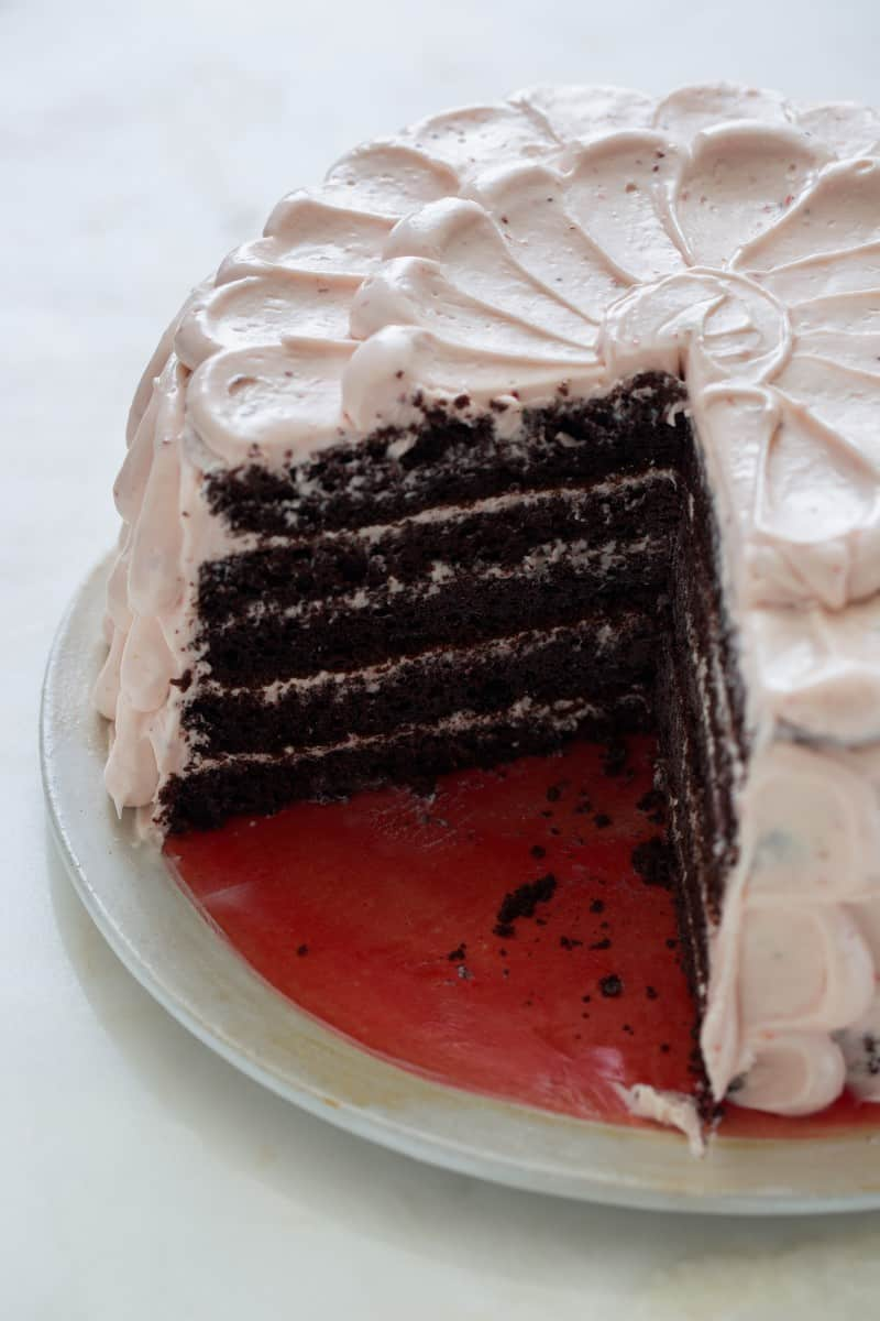 Devils Food Cake with Real Strawberry Frosting recipe