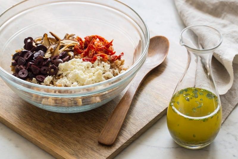 Mediterranean Style Farro Salad process