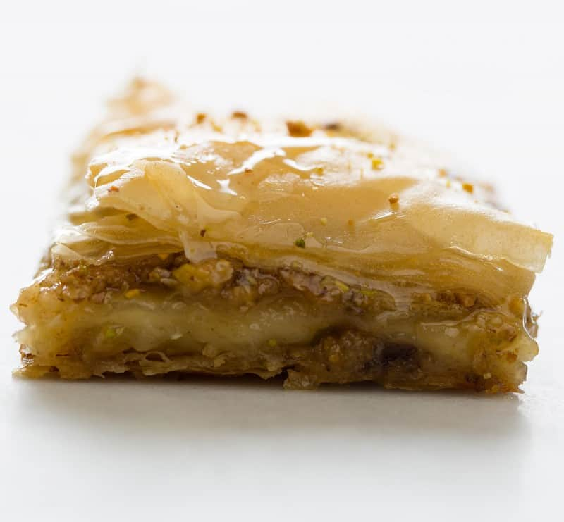 A close up of the layers in brie filled baklava.