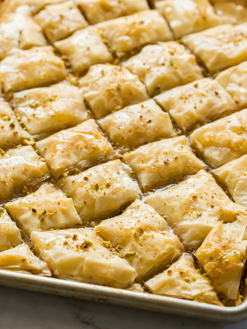 A close up of brie filled baklava.