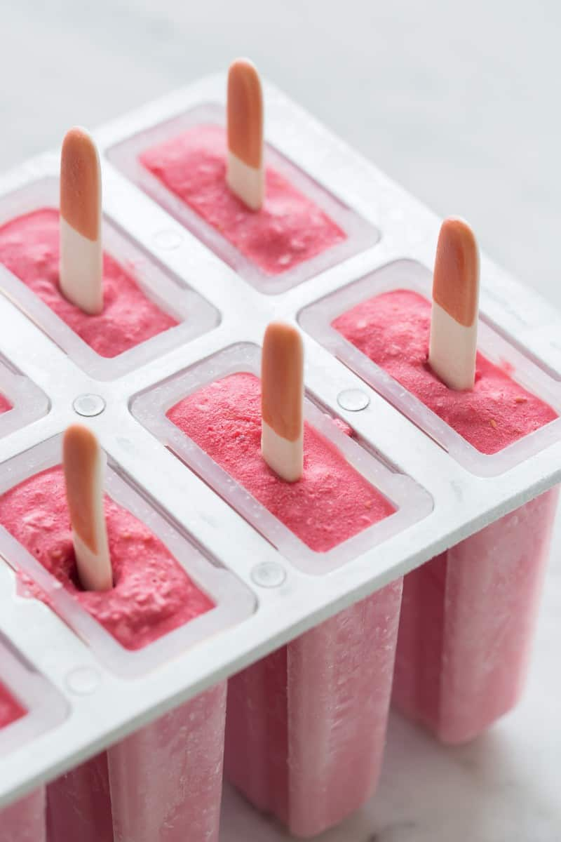 Raspberry Coconut Popsicles process