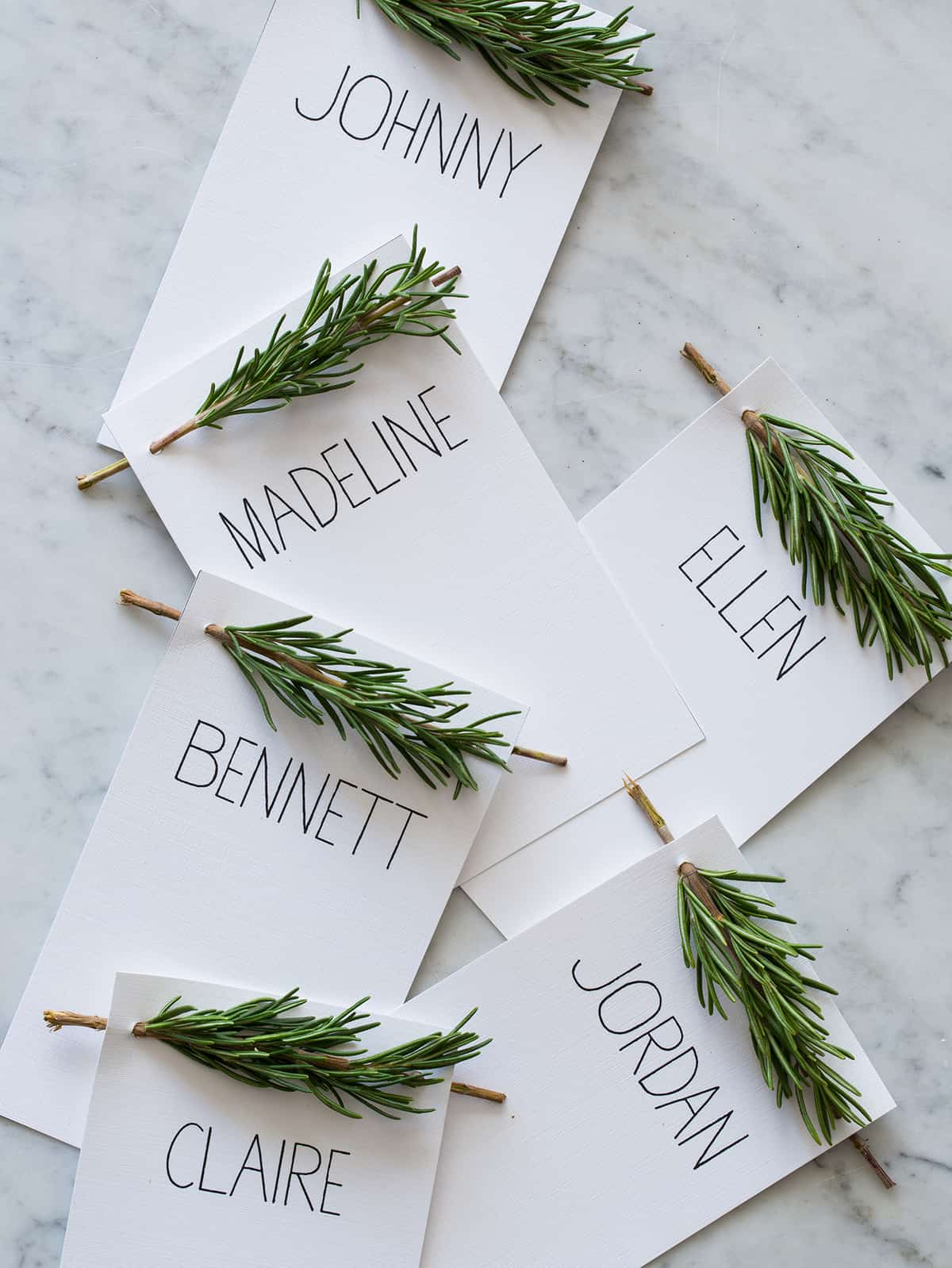 rosemary sprig place cards diy place cards spoon fork bacon