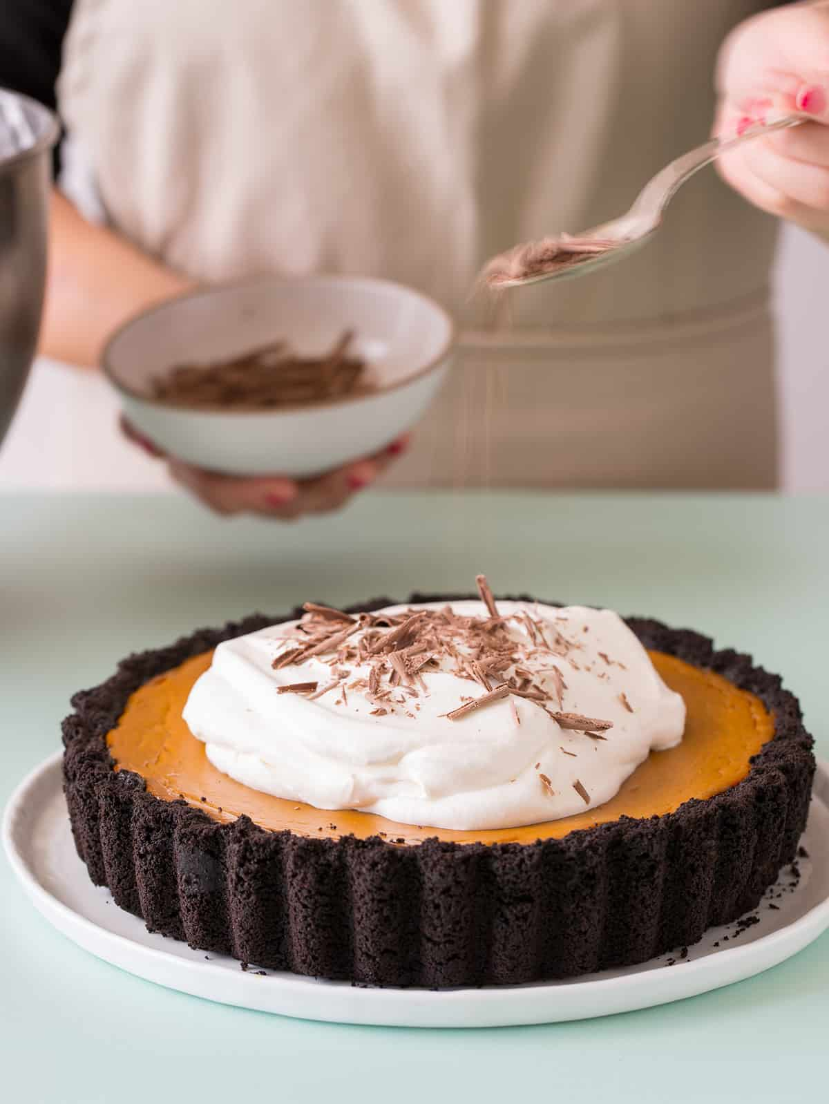Pumpkin Pie With A Chocolate Crust Spoon Fork Bacon
