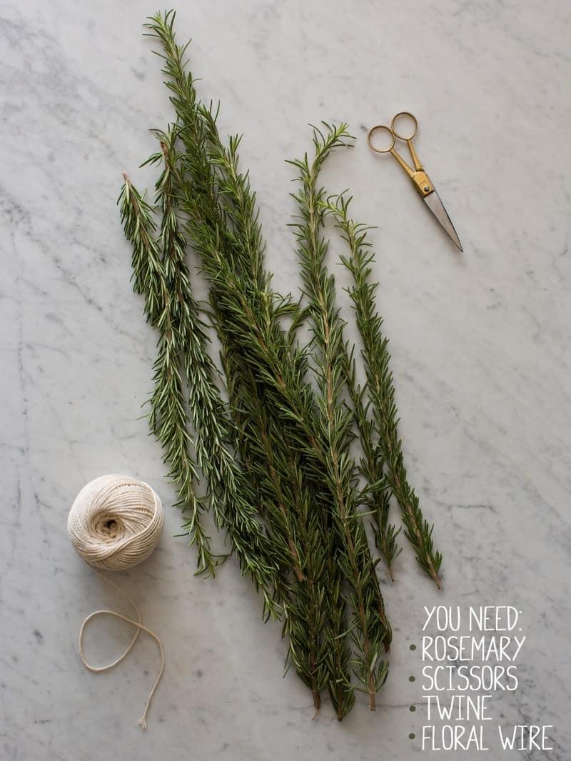 Rosemary, twine, and scissors.