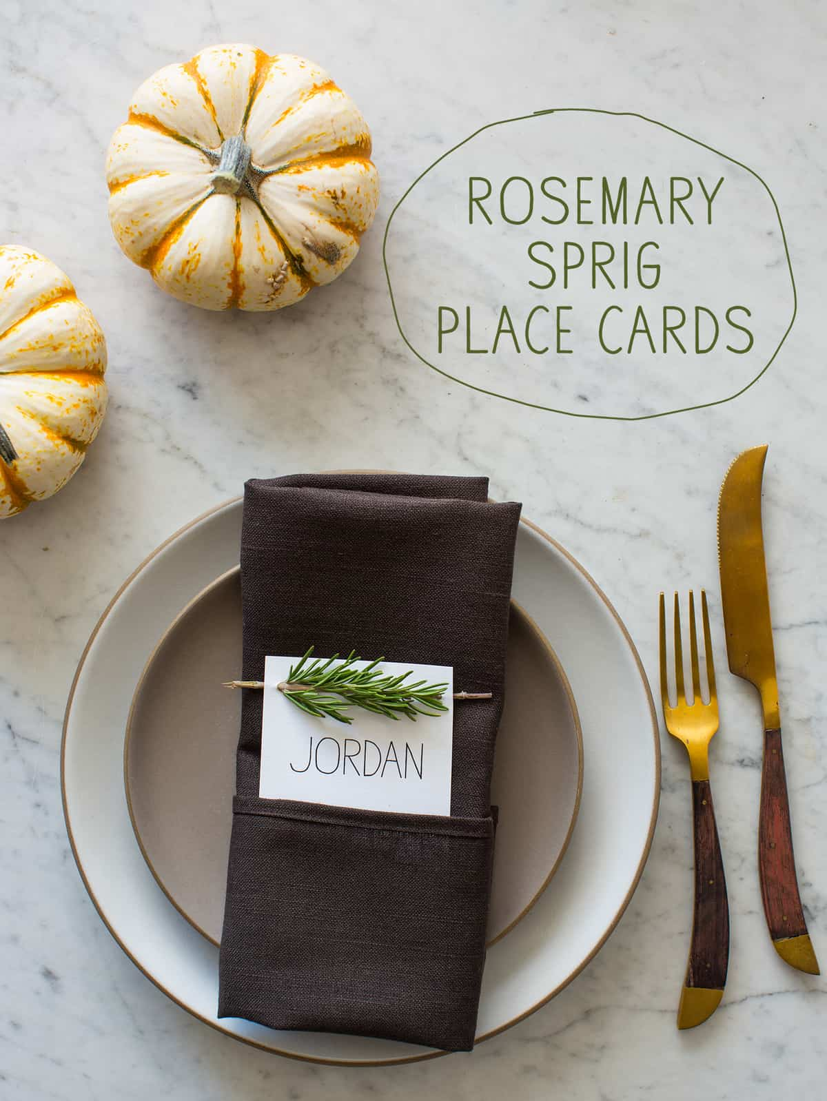 Rosemary sprig place cards diy place cards spoon fork for Diy thanksgiving table place cards