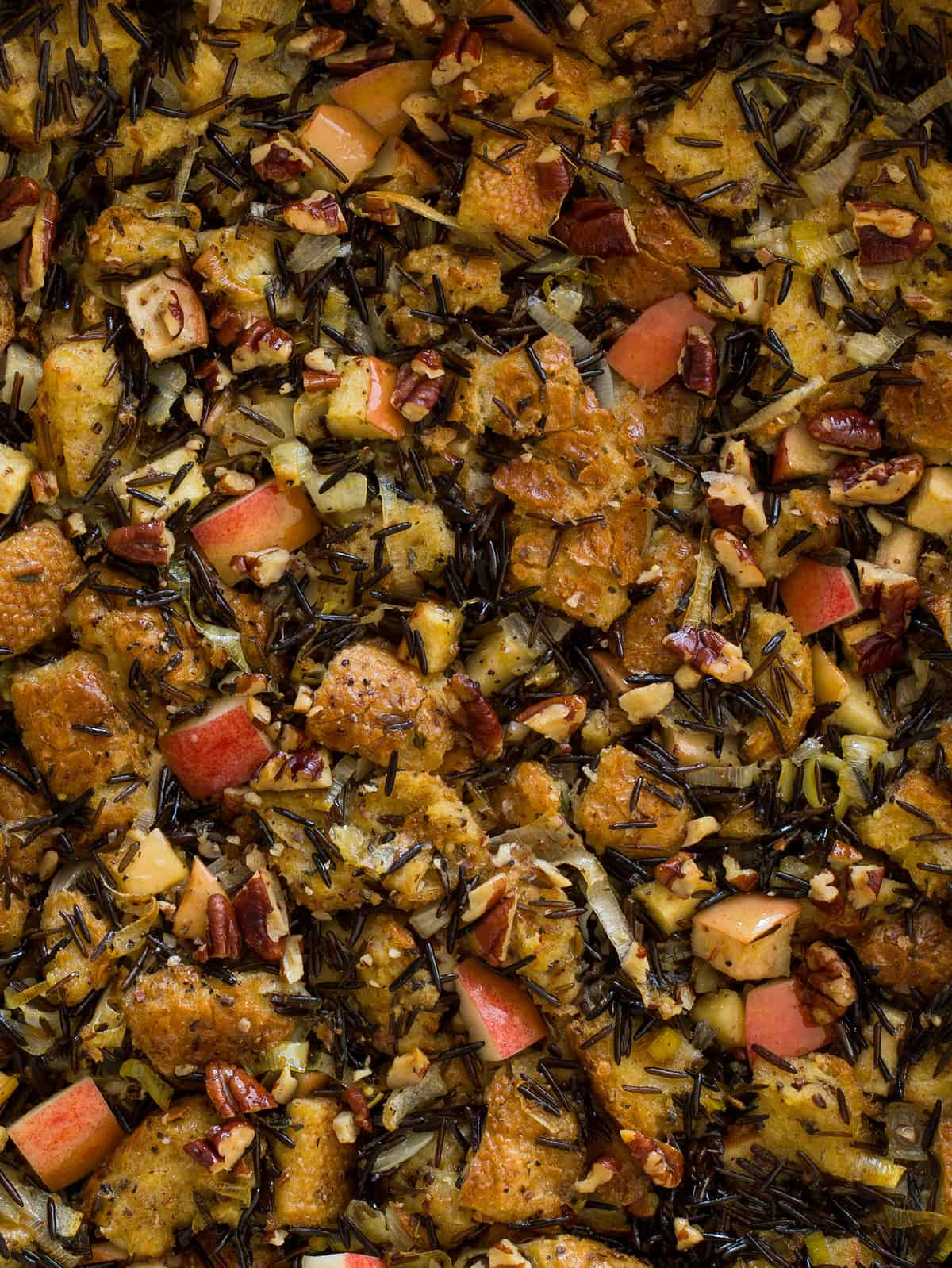 Apple Thyme Wild Rice Thanksgiving Stuffing recipe | Spoon Fork Bacon