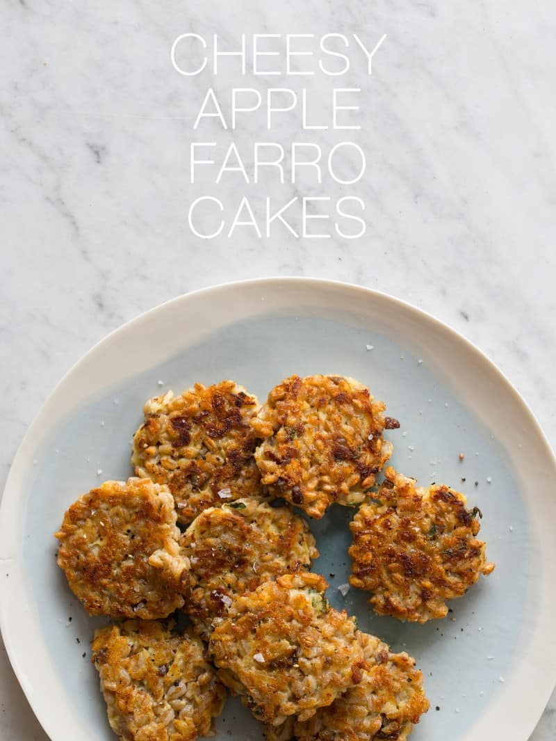 Cheesy Apple Farro Cakes