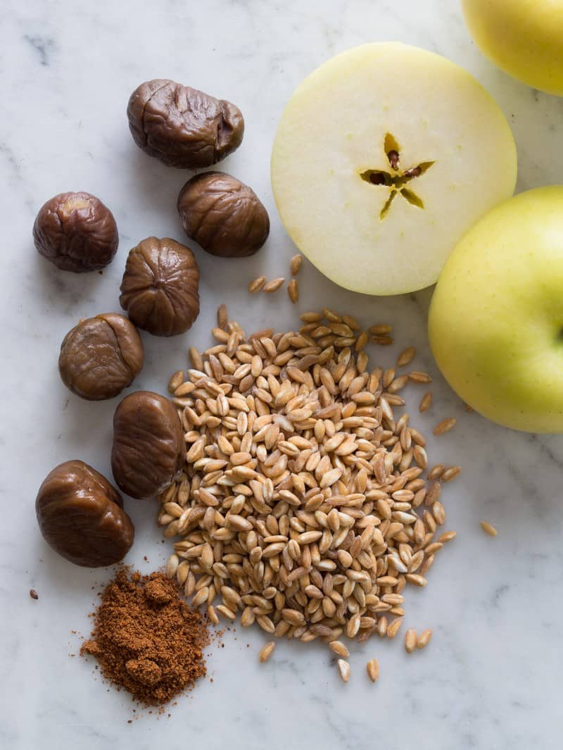 Cheesy Apple Farro Cakes ingredients