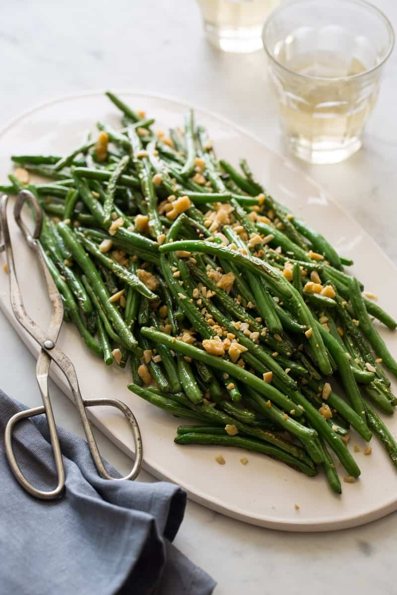 Lightly Roasted Green Beans with an Almond Parmesan Crumble