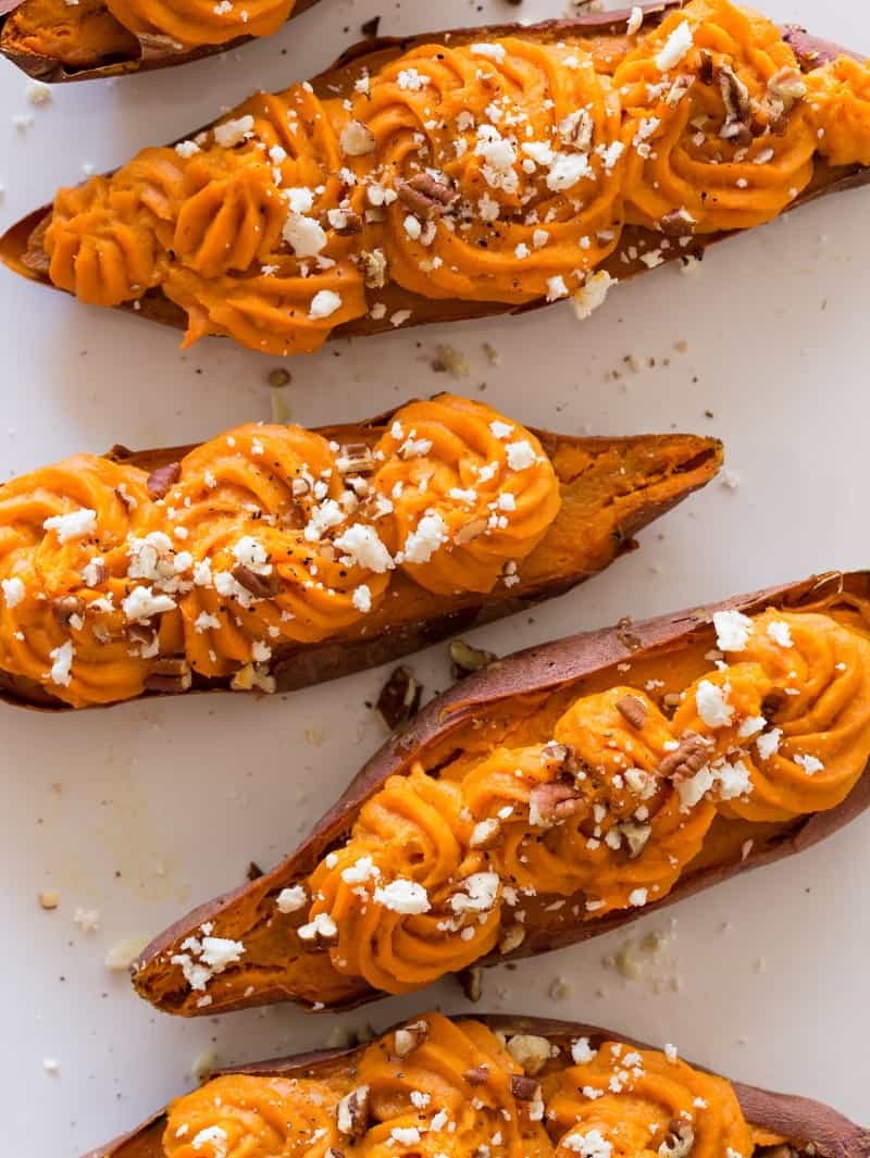 A close up of twice baked sweet potatoes.