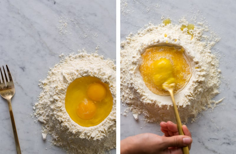 A split photo of a mound of flour with eggs and a person whisking the eggs.