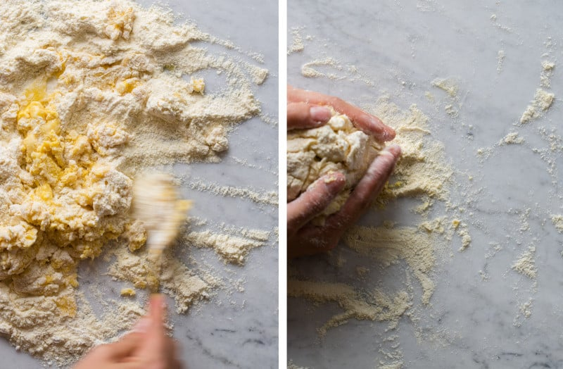 A split photo of dough coming together and a person pulling dough together.