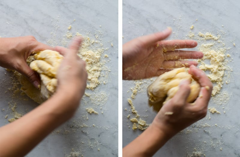 A split photo of a person forming a dough ball and continuing to make a ball.