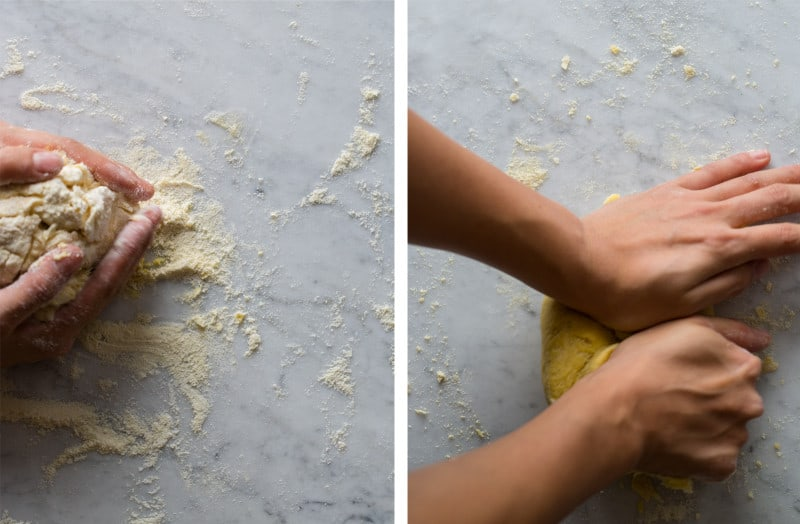 A split photo of steps to knead the dough on a marble surface.