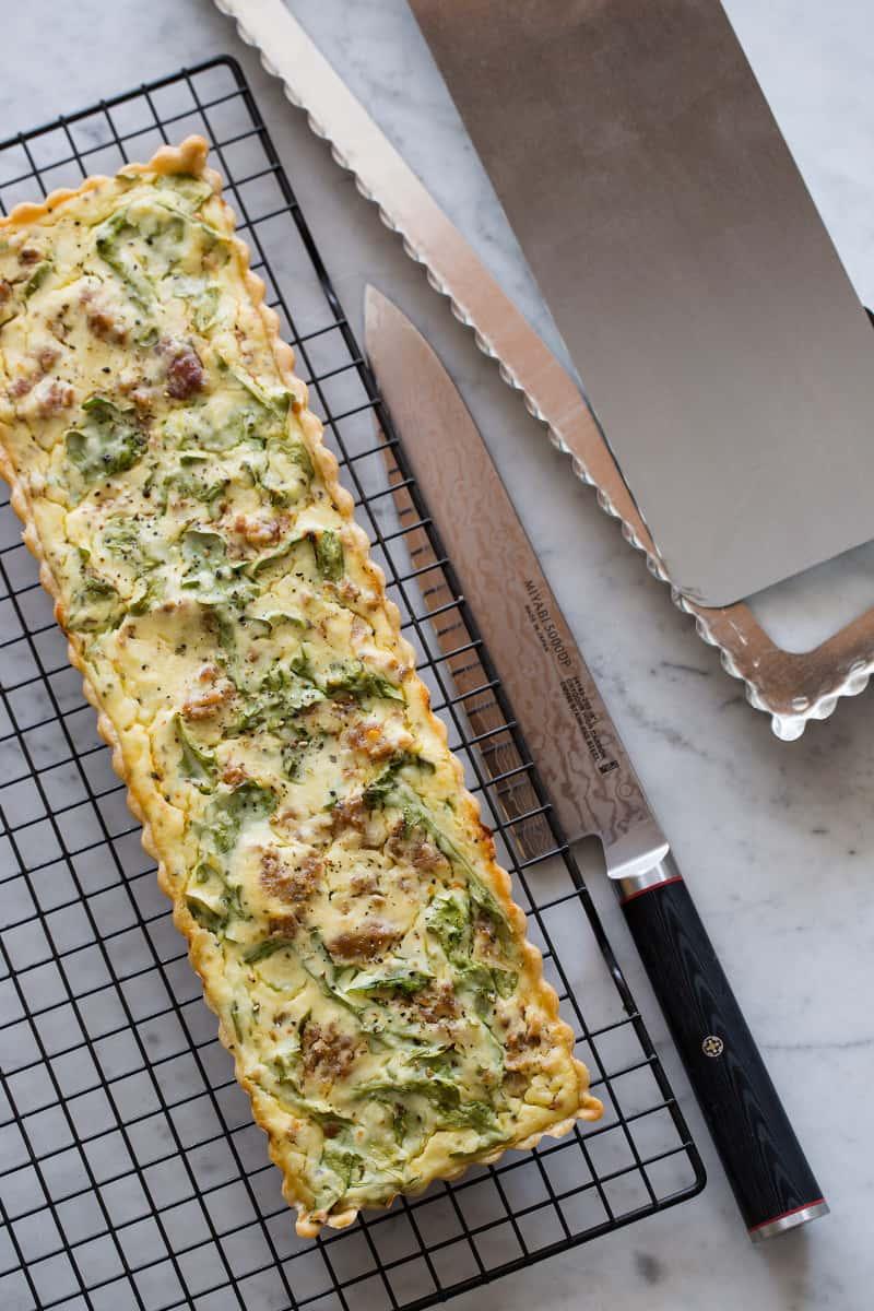 Sausage Arugula Ricotta Tart recipe