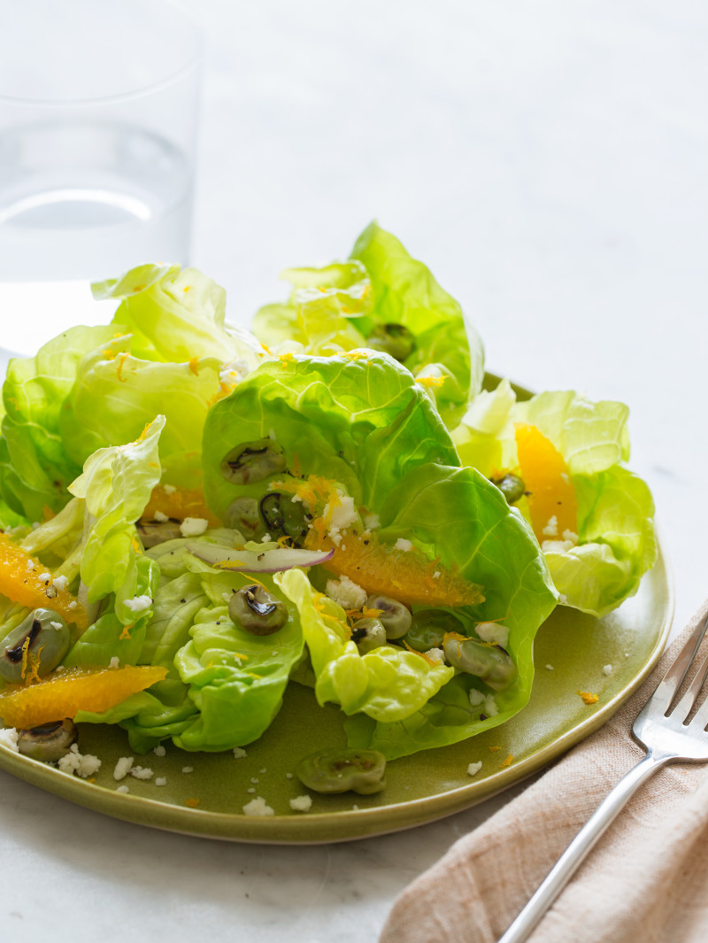 Blistered Fava Bean and Butter Lettuce Salad