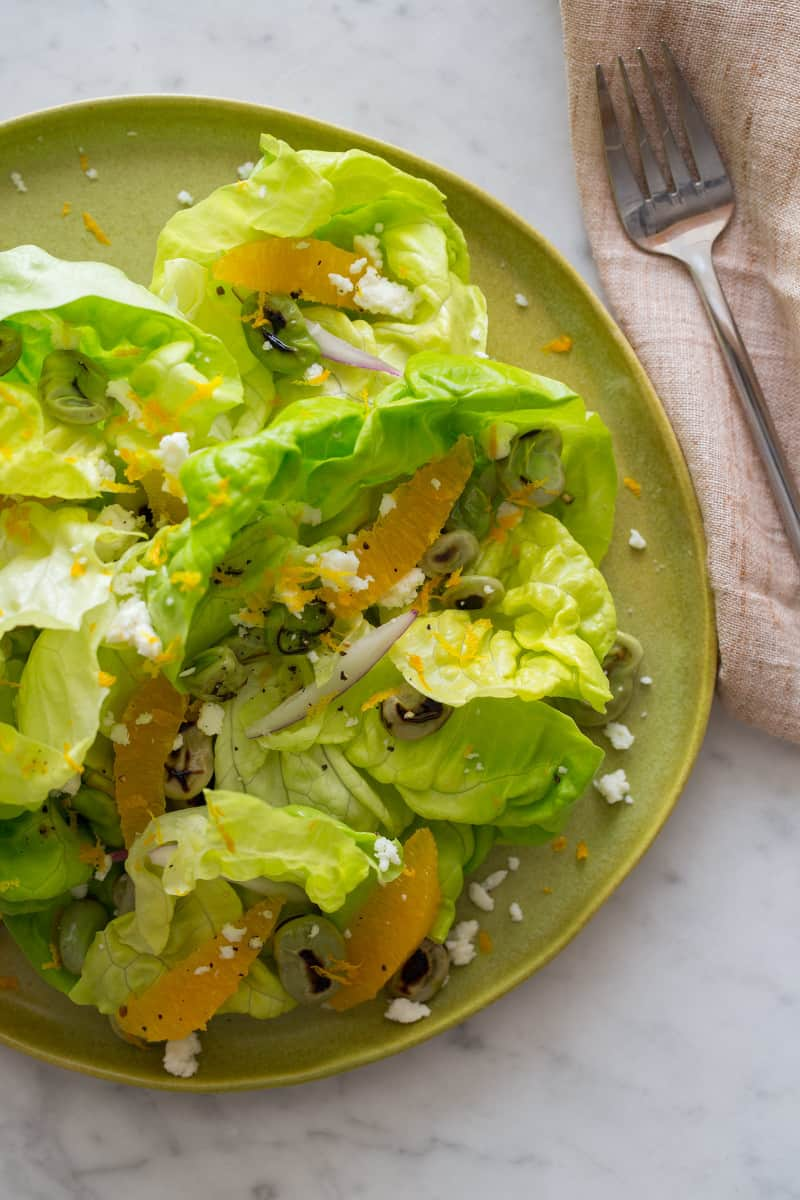 Blistered Fava Bean and Butter Lettuce Salad recipe