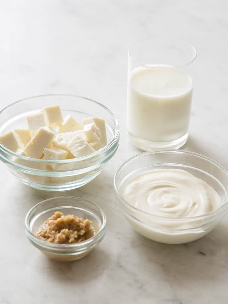 Ingredients for creamy feta horseradish sauce.