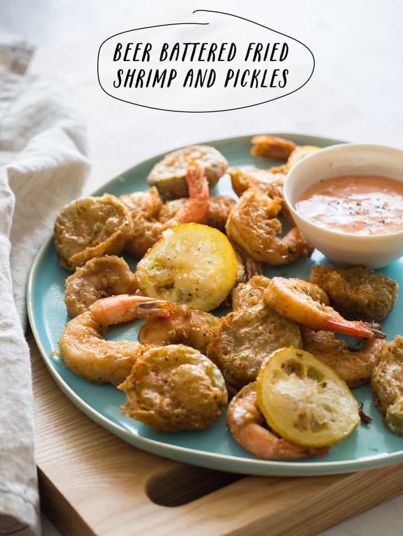 Beer Battered Fried Shrimp and Pickles