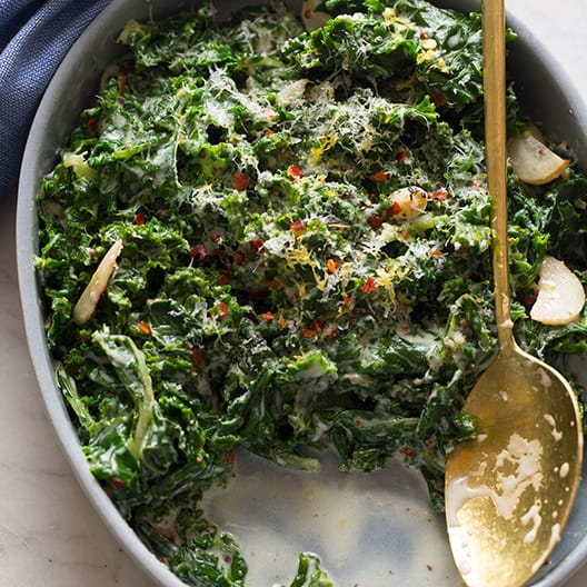 Creamed Kale Spoon Fork Bacon