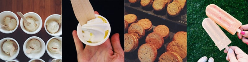 A split photo of a hand holding a cup of yogurt and cookies.