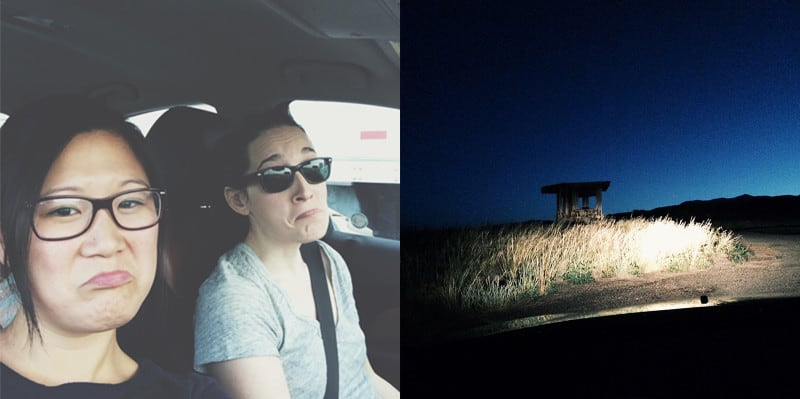 A split photo of a frowny face woman and a field with a structure at night.