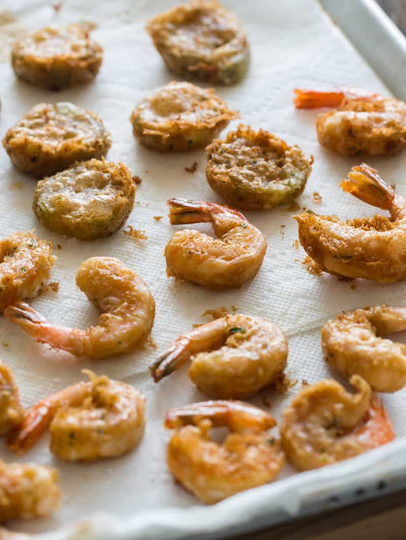 Beer Battered Fried Shrimp and Pickles recipe