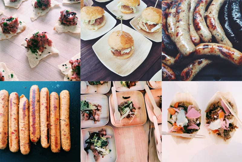A collage of sausages and different types of food on small plates and bowls.