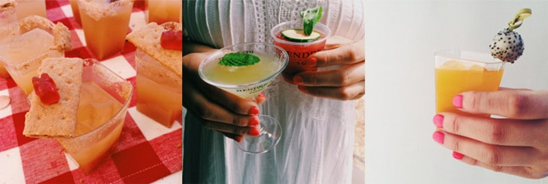 A woman holding two different cocktails.