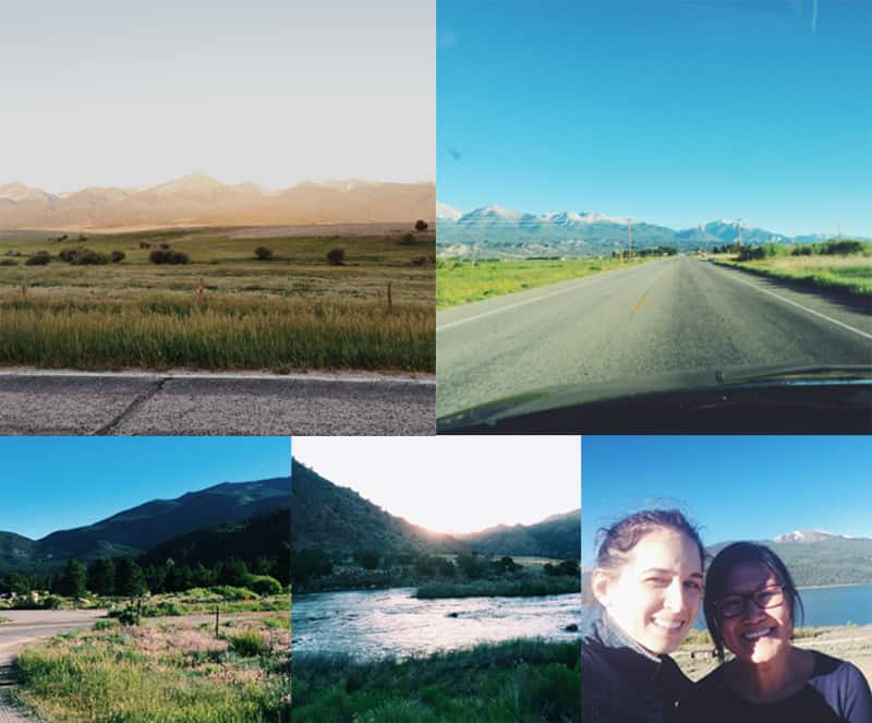 A collage of several photos of daytime landscapes and two beautiful women smiling.