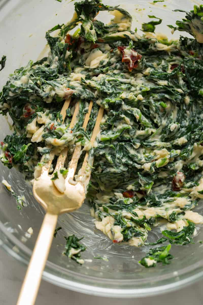 Creamy Spinach and Sun Dried Tomato Dip mixture
