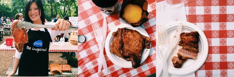Grilled pork chop on a paper plate with plastic flatware and a beer.