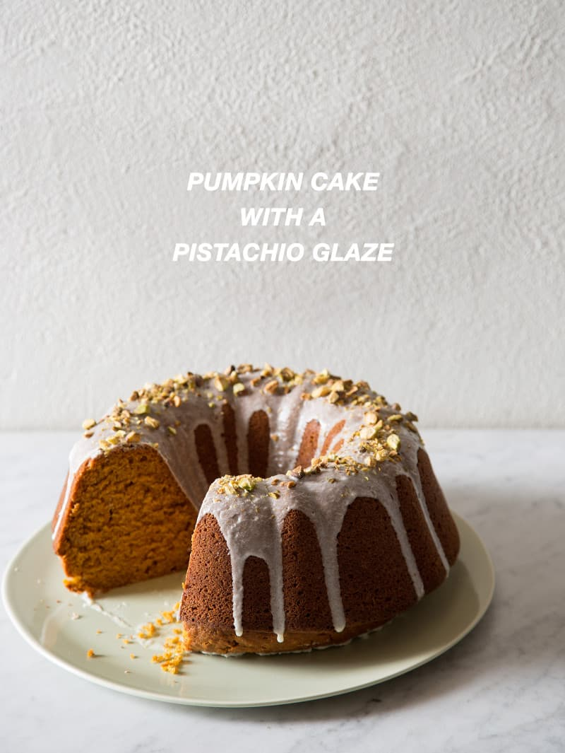 Pumpkin Cake with a Pistachio Glaze