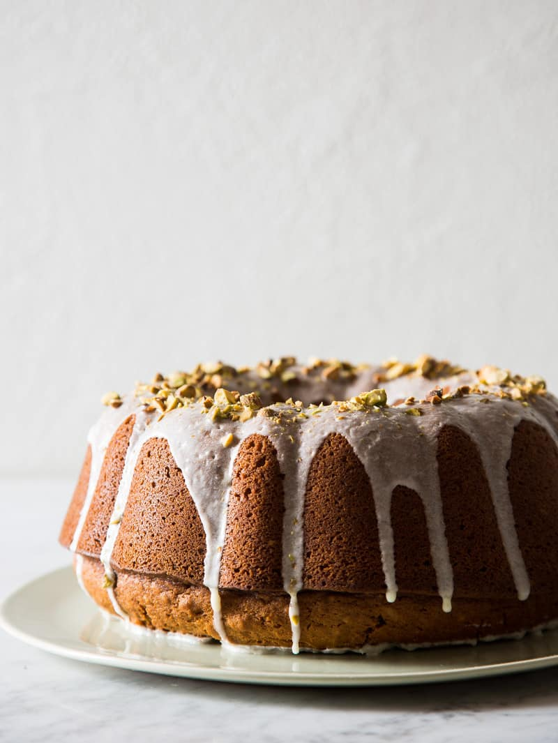 Pumpkin Cake with a Pistachio Glaze recipe