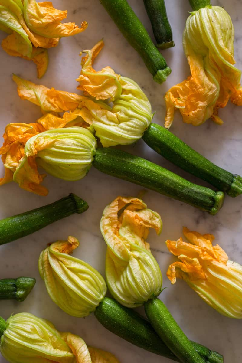 A close up of a squash blossoms.