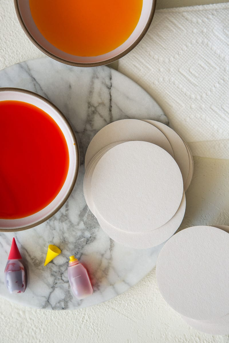 DIY Place Card supplies with food coloring