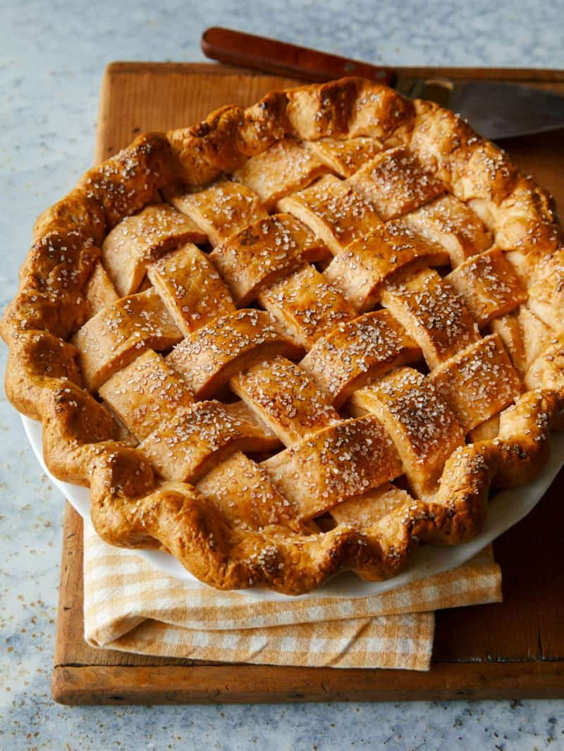 A whole brown butter apple pie with cheddar crust.