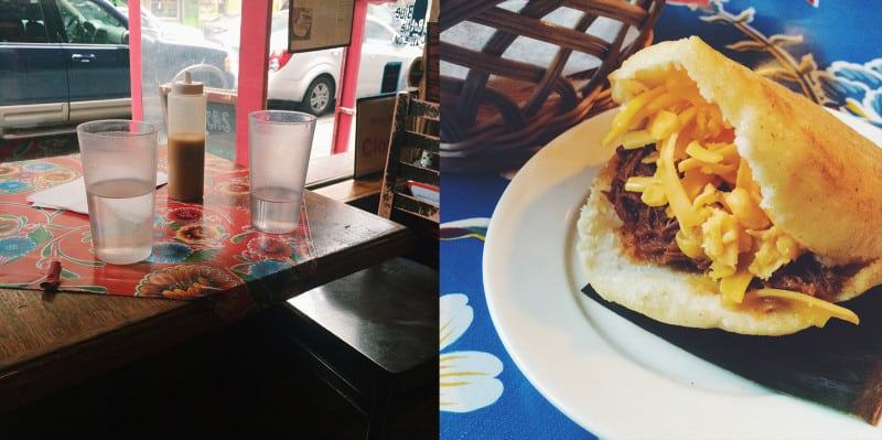 A split photo, a glass on a table and a sandwich on a plate.